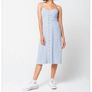 Tie Back Light Blue Midi Dress